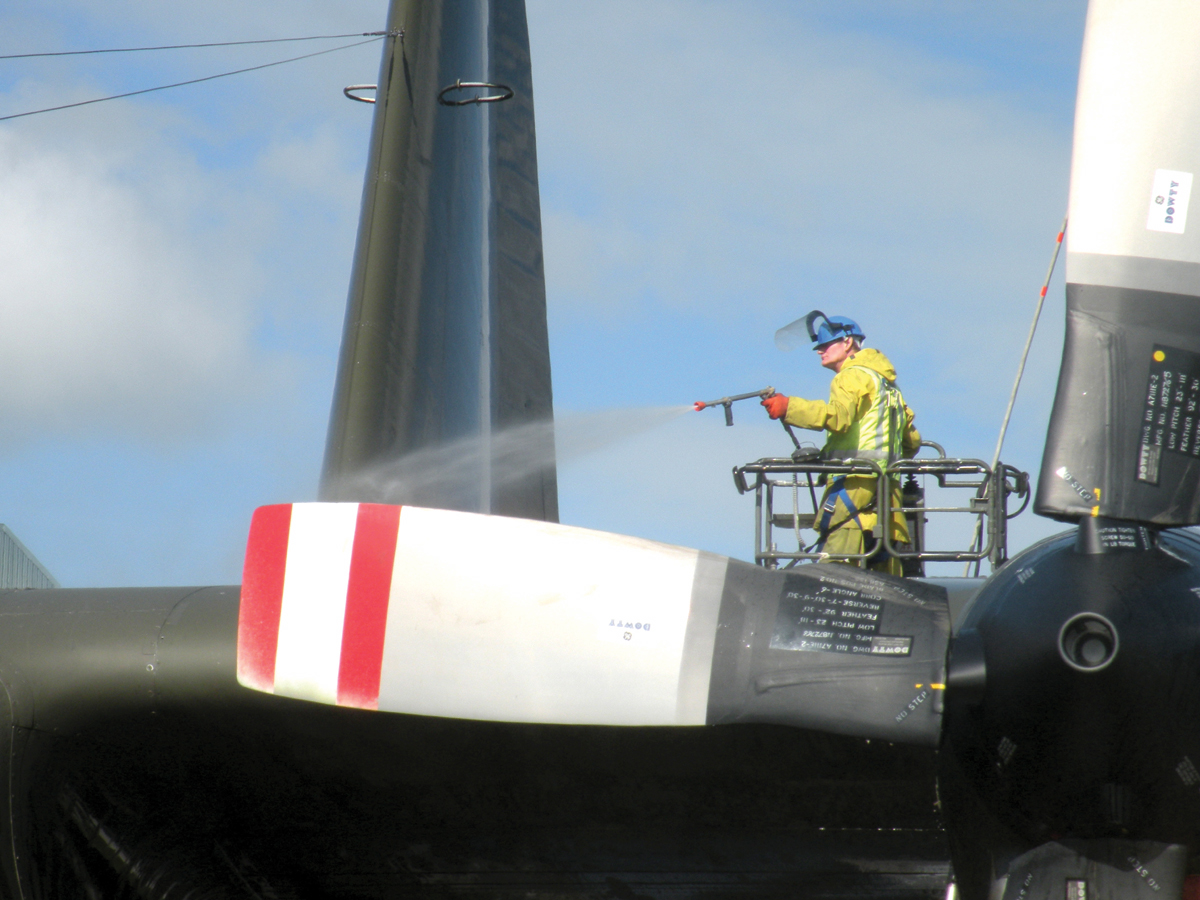spraying an aircraft