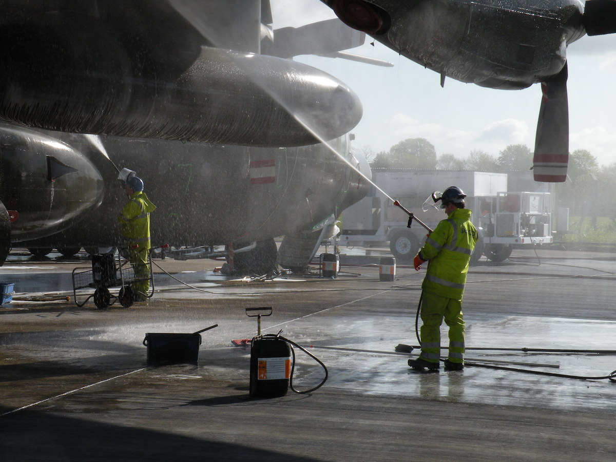 aircraft being washed